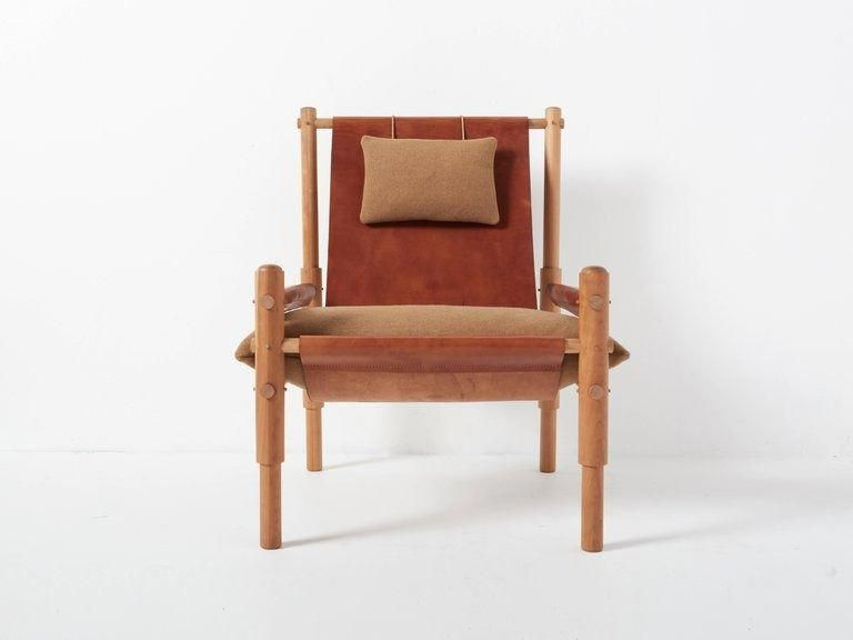 Workstead Sling Chair Two In Cherry Turned Wooden Legs And Brown Leather Brownleatherchairs