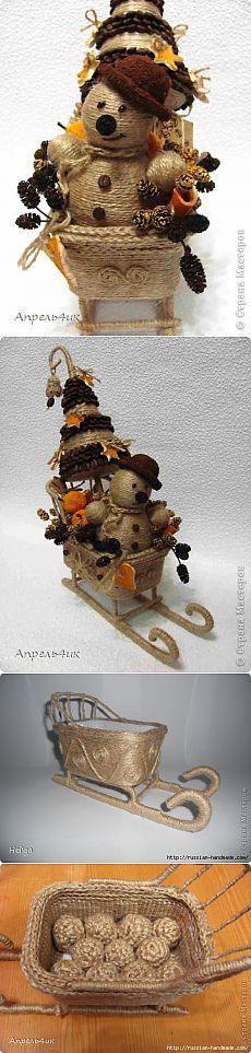 New composition of jute and coffee beans.  Snowman, Christmas tree and sleigh