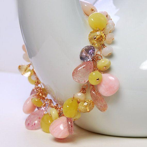 Gold /& Honey Cluster Bracelet