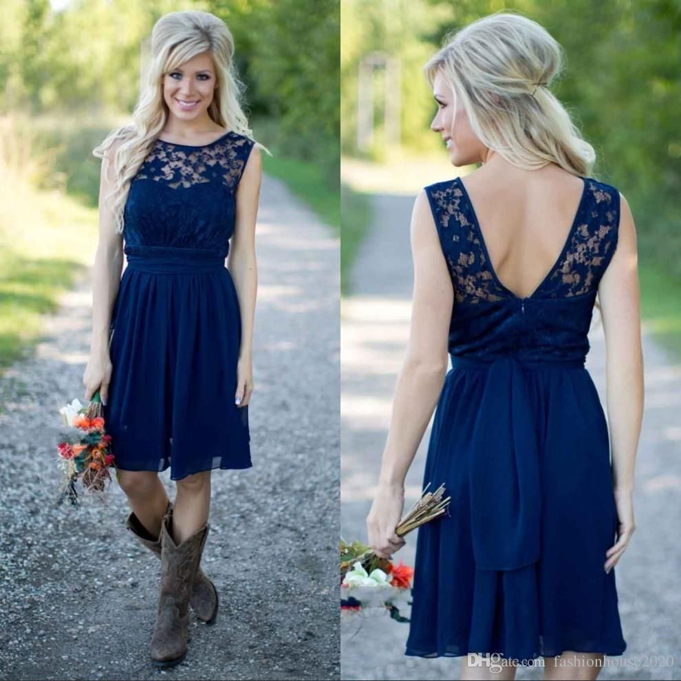 Cheap Lace Country Bridesmaid Dresses 2018 Navy Blue Short ...
