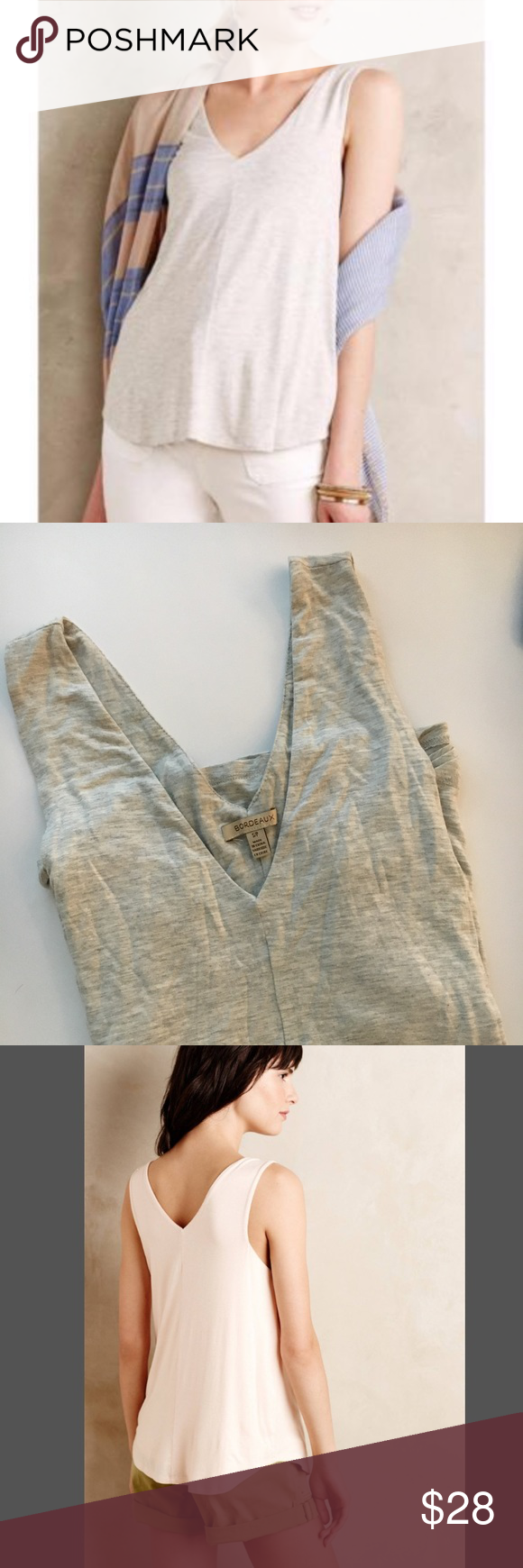 c39855789c Anthropologie Bordeaux Double V Swing Tank Gray Anthropologie tank, V neck  in the front and back, very soft jersey, drapes nicely. Anthropologie Tops  Tank ...