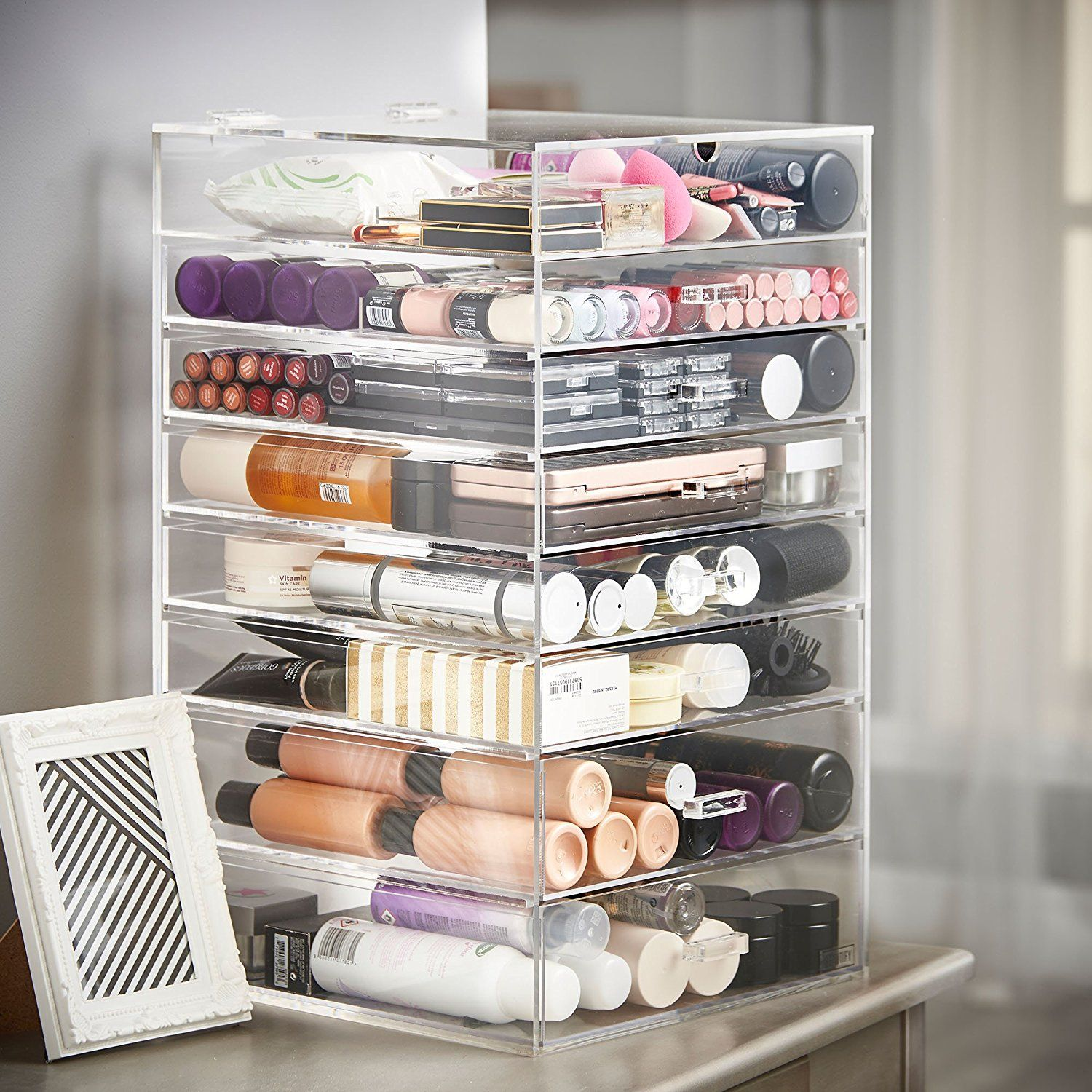 Beautify Extra Large 8 Tier Clear Acrylic Makeup Cosmetic Cube ...
