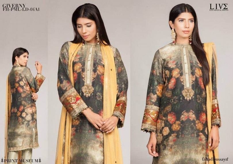 Fahad Hussayn Digital Printed Silk Embroidered Collection 2015-16
