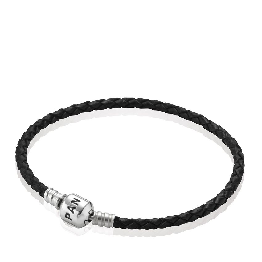 Σύμβολα    Δερμάτινα βραχιόλια    Βραχιόλι δερμάτινο πλεξούδα ασ. 925 μαύρο  μονό - PANDORA Jewelry Hellas  bdbbf3f490f