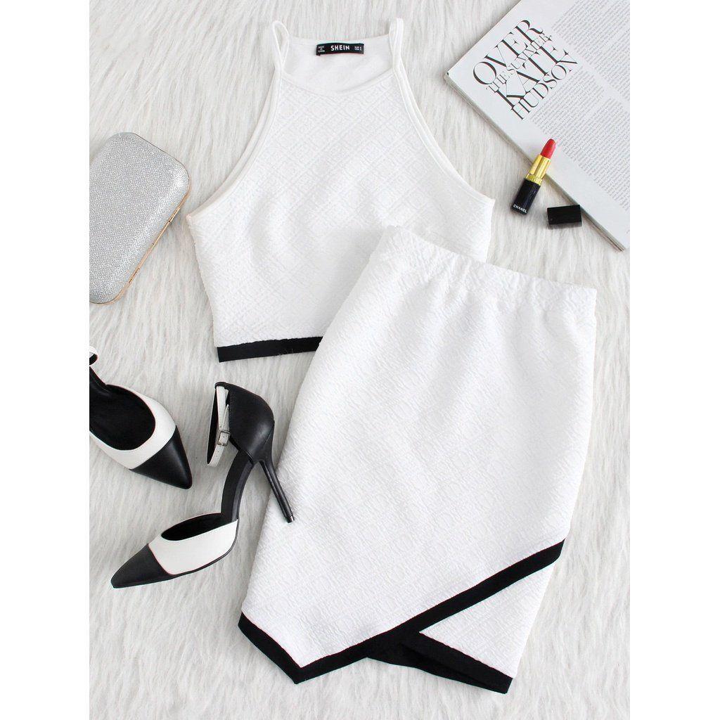 Contrast Binding Hem Textured Top And Overlap Skirt Set In