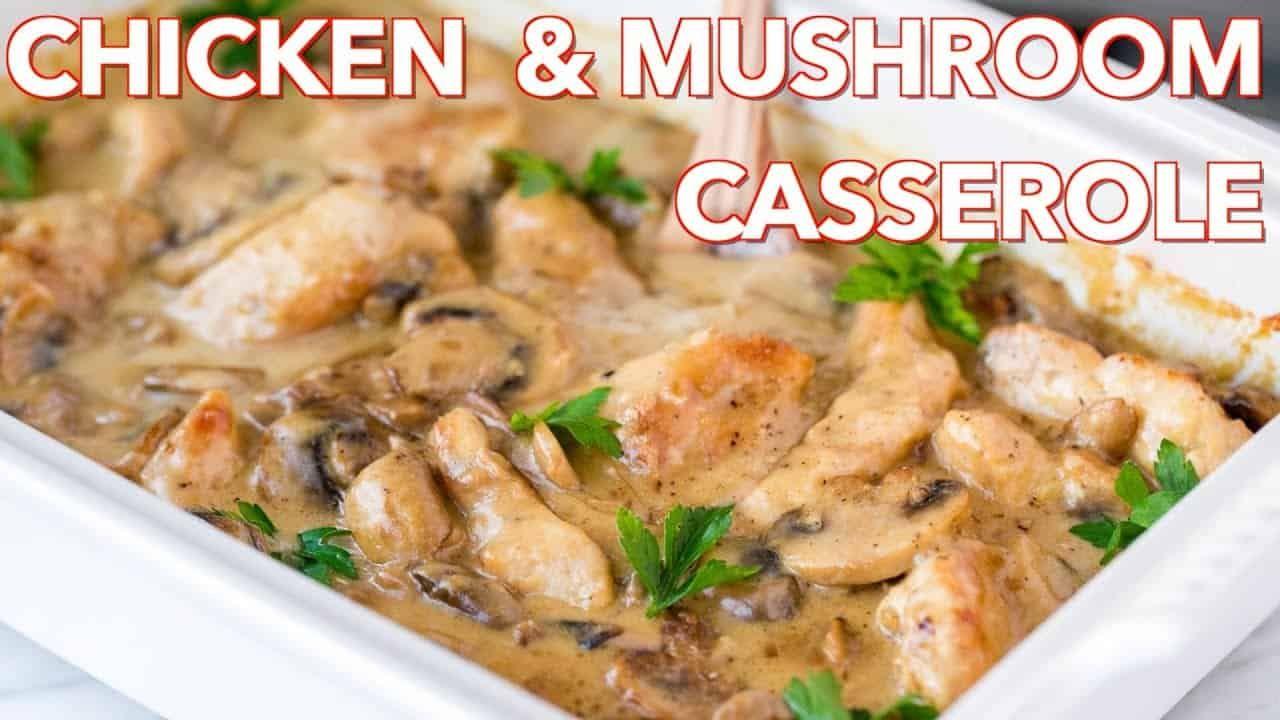 Creamy Chicken Casserole (Chicken Gloria) - NatashasKitchen.com #creamychickencasserole