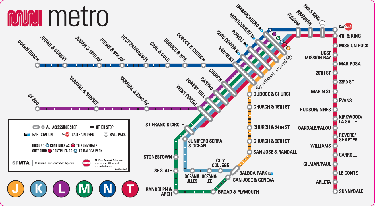 Muni Metro Map / SF / California | Metro map, Map, Singapore map