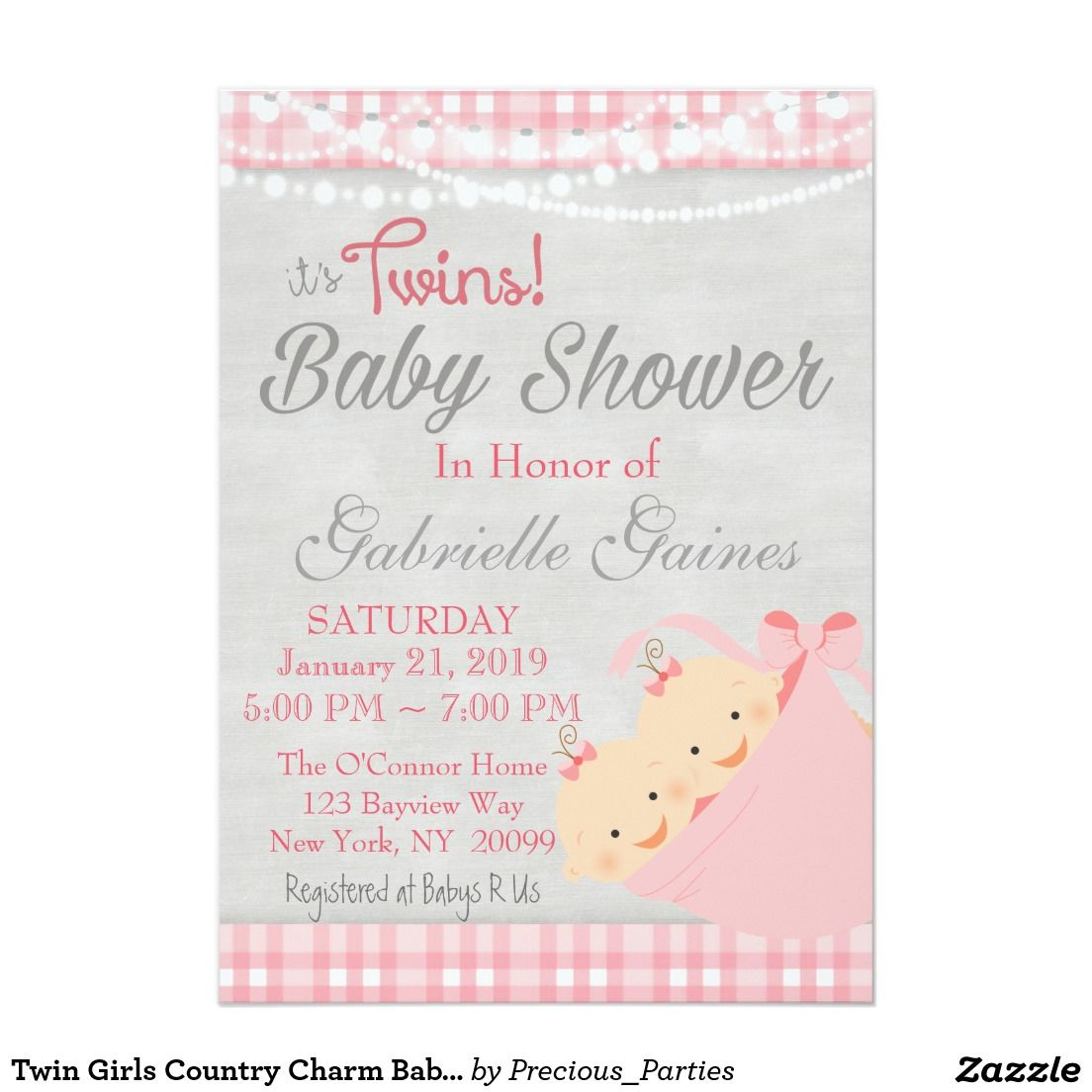 Twin Girls Country Charm Baby Shower Invitation | Twin Babies ...