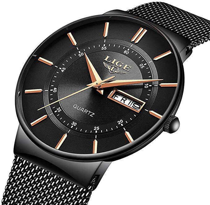 LIGE Herren Uhren Ultra Dünne Schwarze Minimalistische