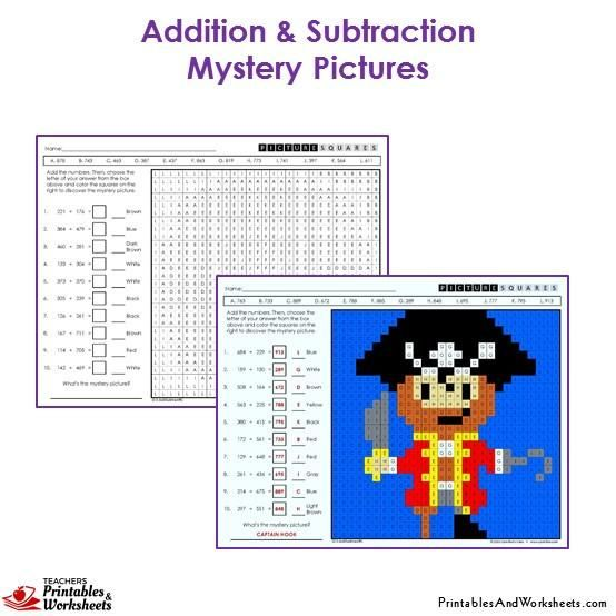 3rd Grade Addition and Subtraction Mystery Pictures Coloring ...
