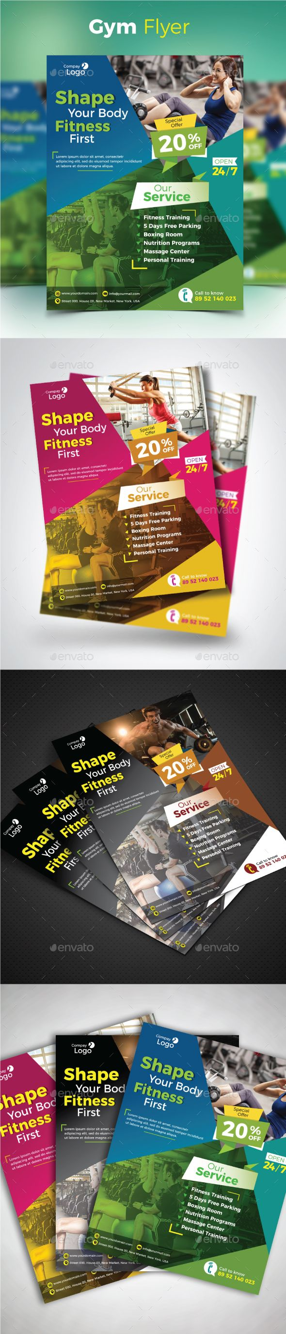 Gym Flyer  Brochures Flyer Template And Logos