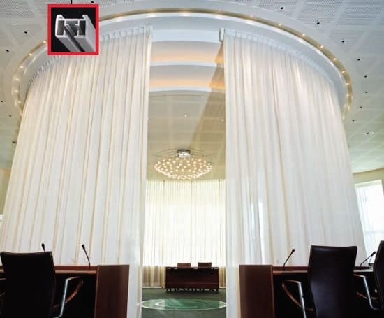 A Curved Electric Track To Create A Private Area Electric Curtain