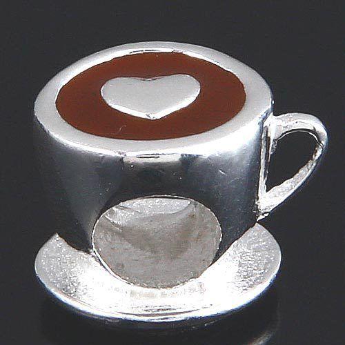 Original 925 taza de café granos del encanto del corazón diy adapta para pulseras Pandora SS2890 envío gratis