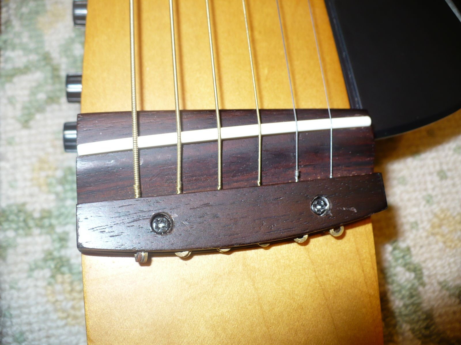 Top Of View Of Re Glued Bridge With New And Sturdier Screws Also The Pickup Electronics And Stri Acoustic Guitar Accessories Yamaha Guitar Acoustic Guitar