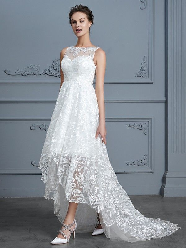 A-Line/Princess Scoop Sleeveless Asymmetrical Lace Wedding Dresses ...