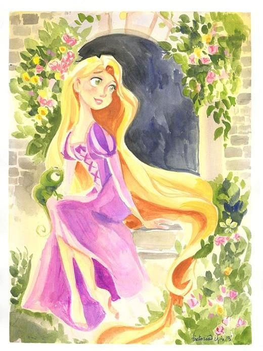 "tinkeperi:  Disney Fine Art: ""Flowing Locks of Gold"" by Victoria Ying:)"