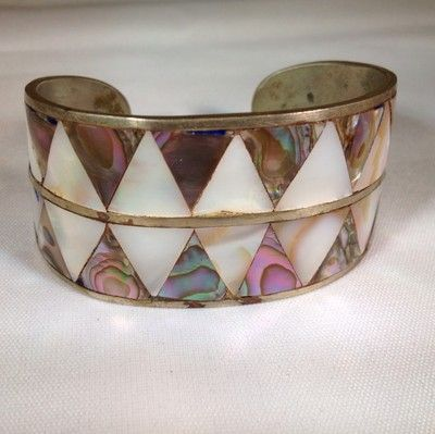 Vintage Silver Plate Mexico Inlaid Mother Of Pearl And Abalone Bracelet Cuff
