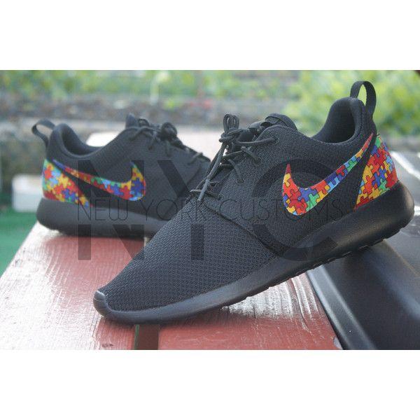 Autism Awareness Nike Roshe Run Triple Black Custom (£105) ❤ liked on  Polyvore a2522f068