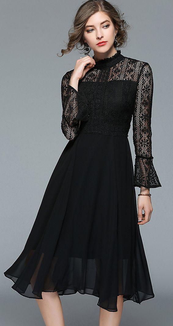 66c17bfa47ea Elegant O-Neck Long Sleeve Lace Stitching Skater Dress