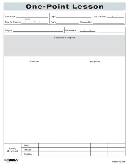 One Point Lesson Form Lessons Template Lesson Enna