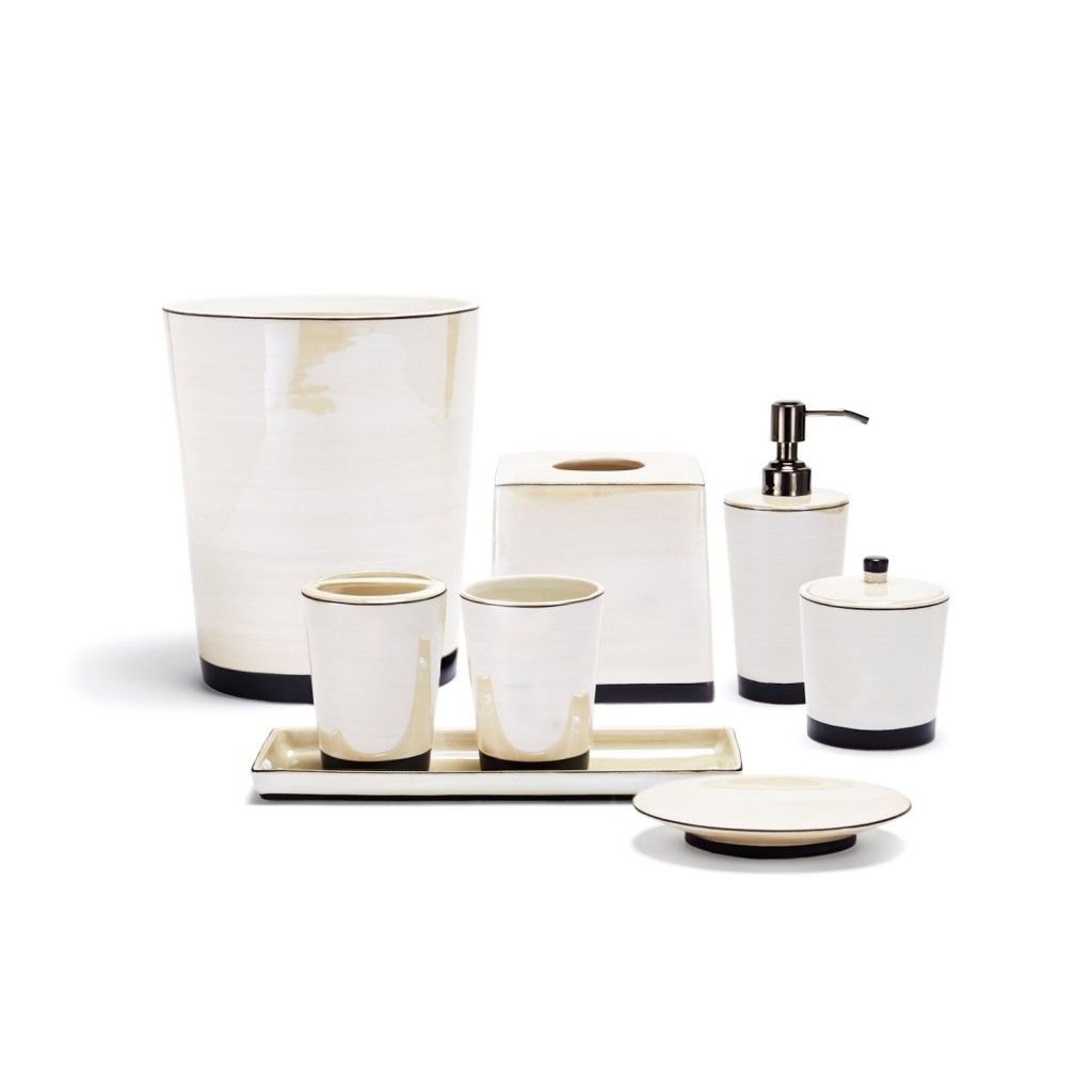 Contemporary Tribeka Stone Bath Accessories Collection With White ...