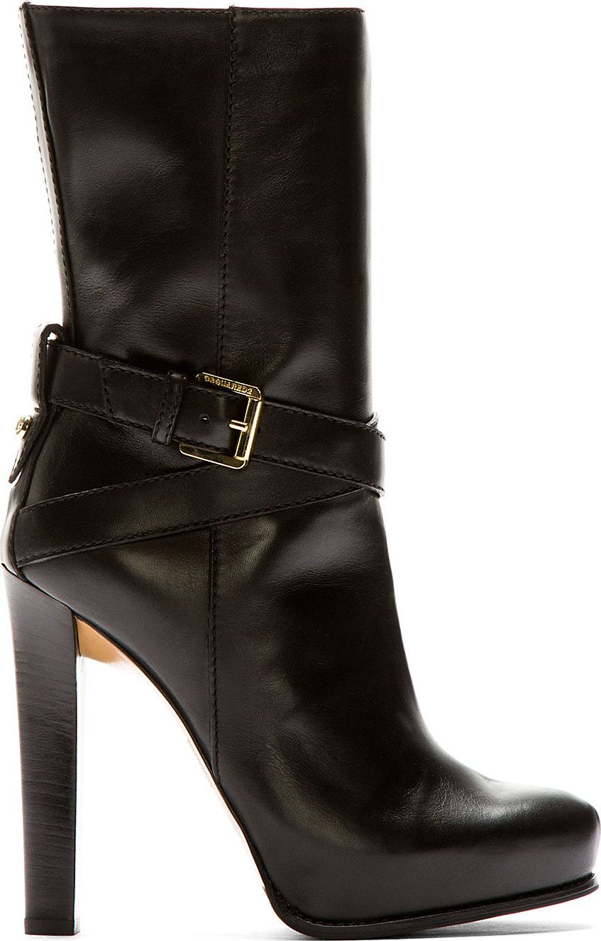 "High heel platform ankle boot in back leather. Tonal stitching. Aprpox. 5"" heel."