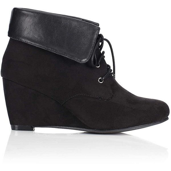 9be7a5a6909 Black Lace Up Wedge Ankle Boot ( 32) ❤ liked on Polyvore featuring shoes