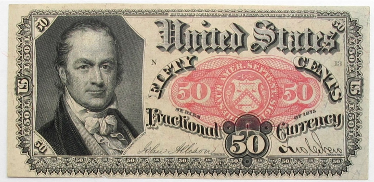 Old U S 50c 0 50 50 Cent Fractional Currency Fifth Series Uncirculated Paper Currency Bank Notes Currency Note