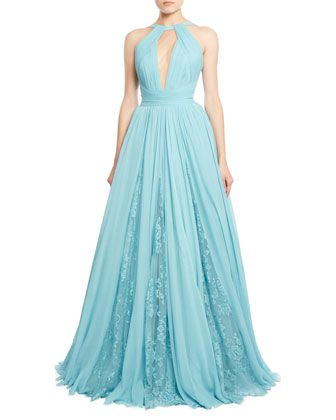 Draped+Georgette+Gown+with+Lace+Insets,+Blue+by+Zuhair+Murad+at+Neiman+Marcus.