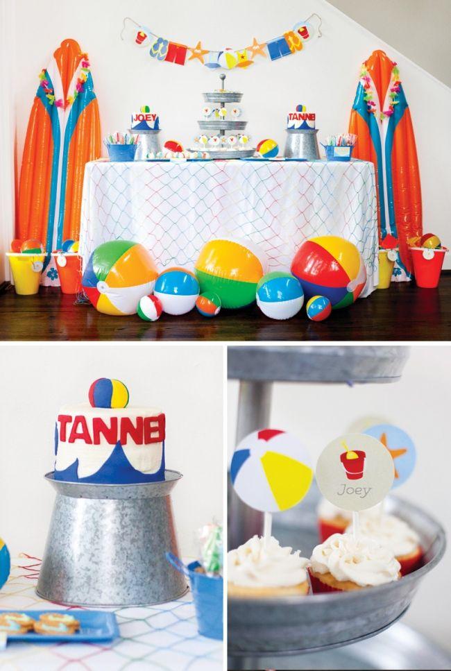Boys Beach Dessert Table Cashs 2nd bday party Pinterest
