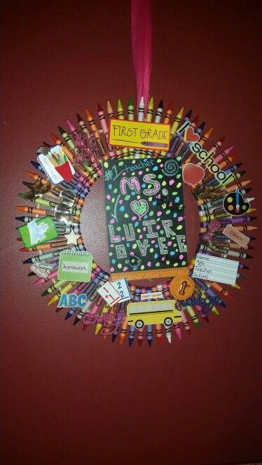 Crayon wreath my creation august 2015
