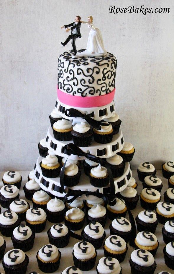 Black White Wedding Cake And Cupcake Tower Cupcakes Cakes
