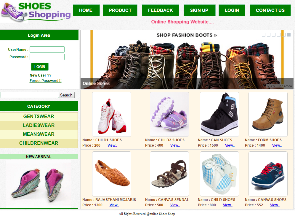 Online Shoes Shopping website project in c# | Online