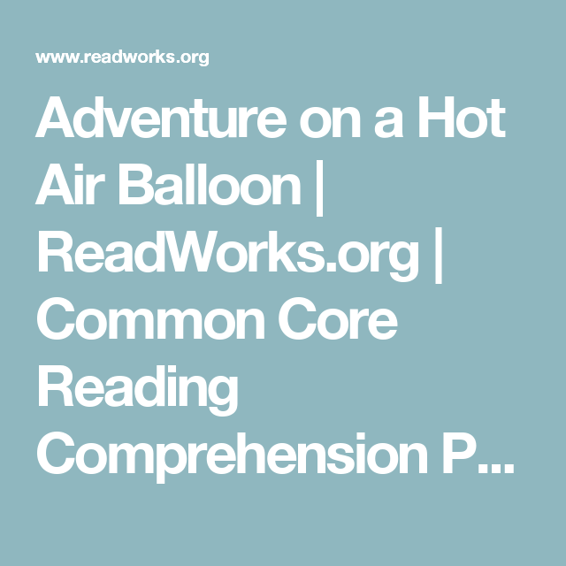 Adventure on a Hot Air Balloon | ReadWorks.org | Common ...