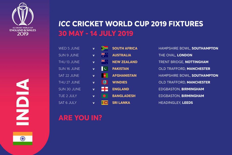 Pin On 2019 Cricket World Cup Schedule