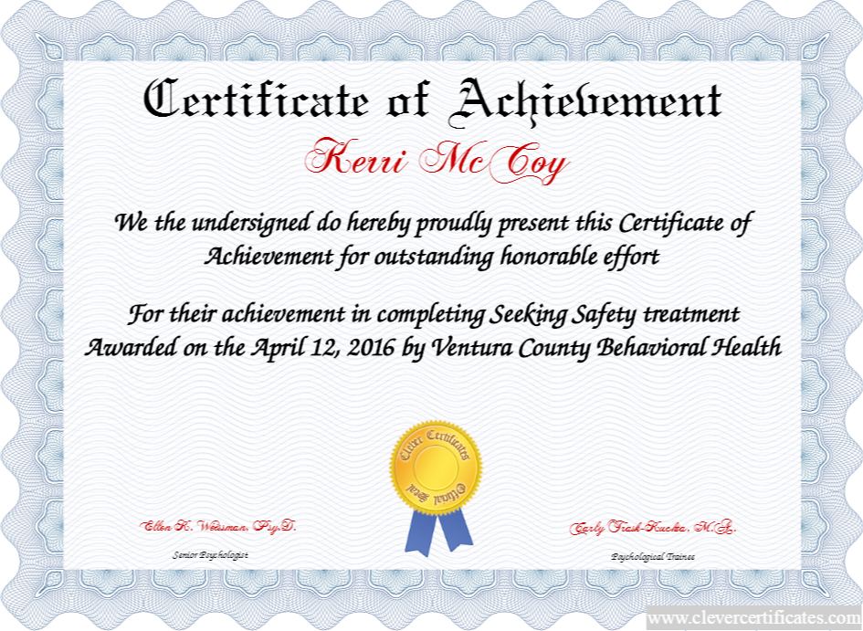 Certificate Of Achievement Free Certificate Templates For Employees