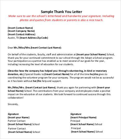 Image result for thank you letter to teachers from principal PTO - writing donation thank you letters