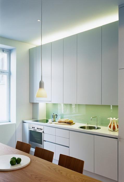 Mietowe Szklo Lacobel W Szarej Kuchni Kitchen Interior Kitchen Cabinets Kitchen