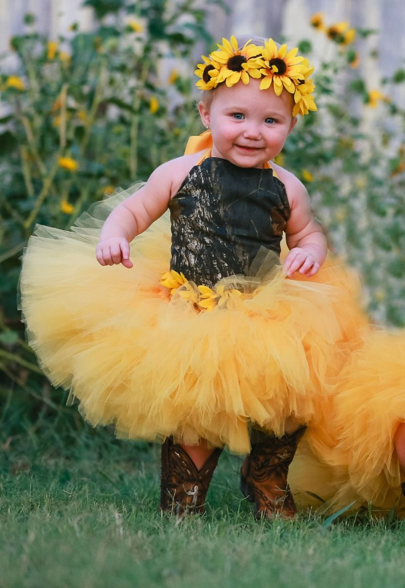 975a9dc62c3d3 Flower Girl Dresses · Mossy Oak camo and sunflowers! A perfect spring  combination for your flowergirls.