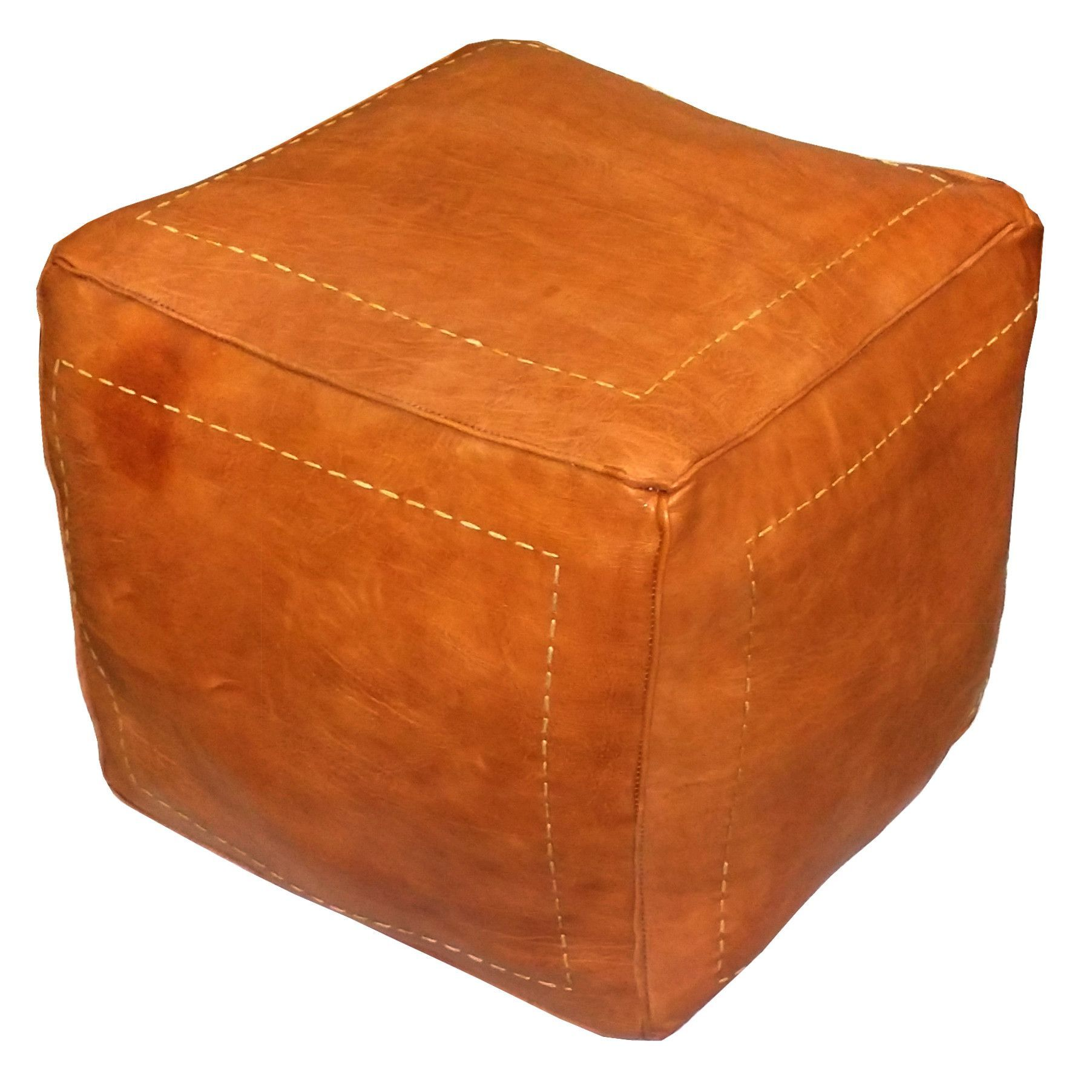 square moroccan leather poufs dark orange square genuine leather. square moroccan leather poufs dark orange square genuine leather