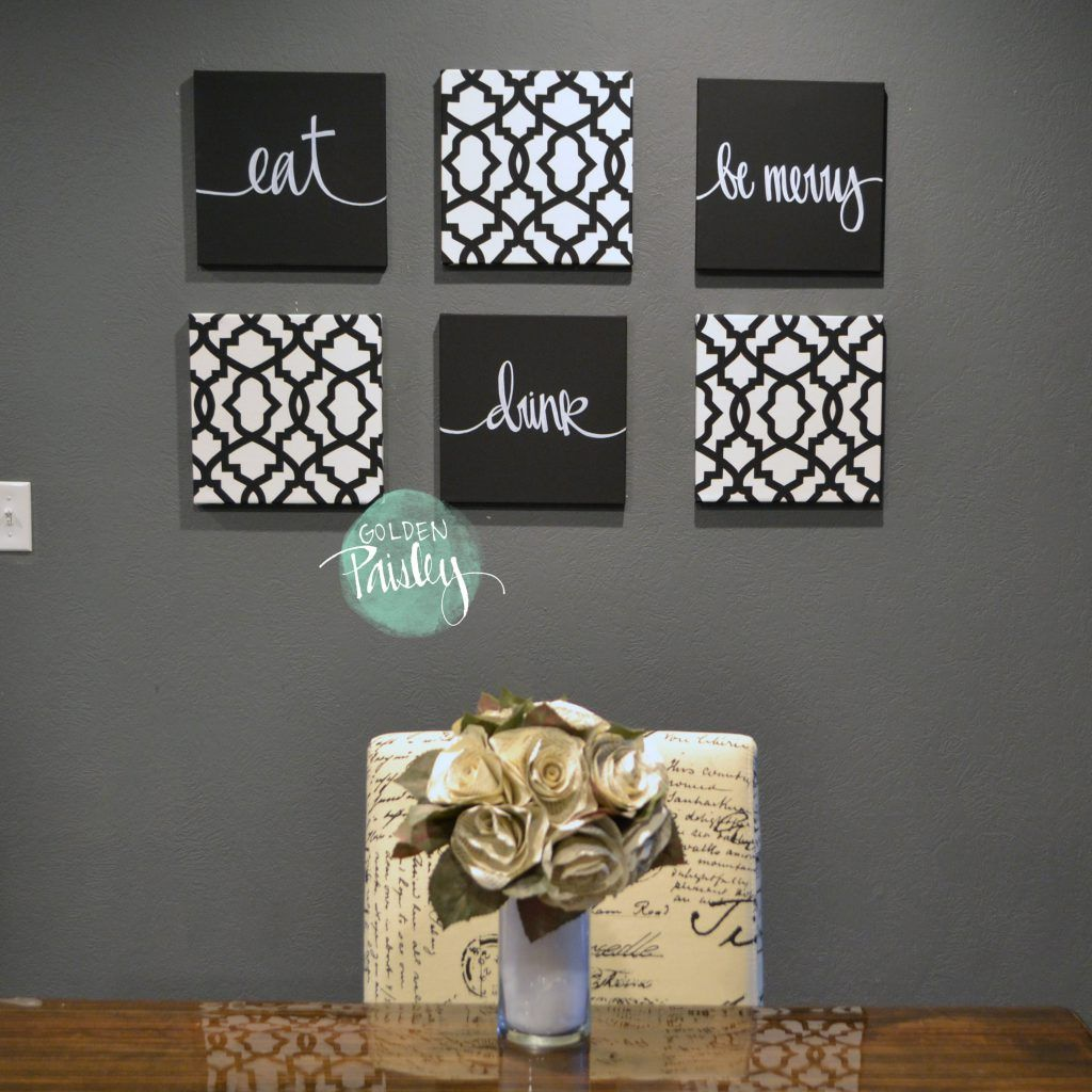 Black And White Trellis 6 Pack Wall Art Canvas Kitchen Wall Art