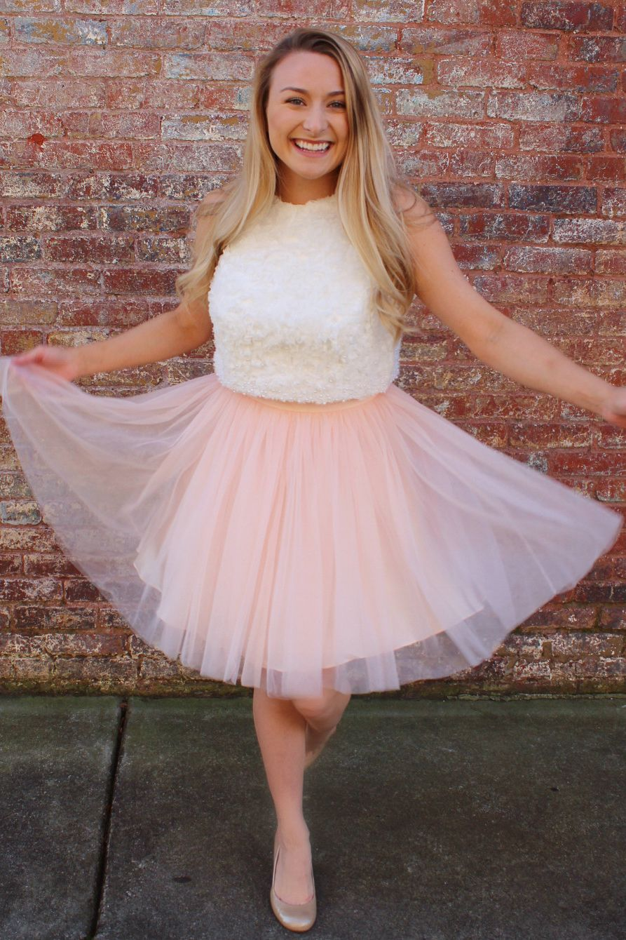 Cute two piece white and pink short prom dress in dreamy prom