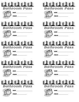 Bathroom Pass (8 per sheet): Printable Classroom Tool, Grades K-5 ...