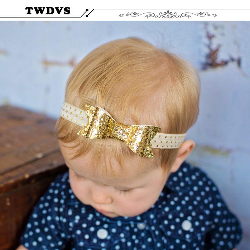 Dzieci Glisten Luk Wezel Palak Noworodka Luk Elastyczny Pierscien Wlosow Akcesoria Luk Pasma Wlosow W18 Bow Headband Hairstyles Girls Bows Glitter Bow Headband
