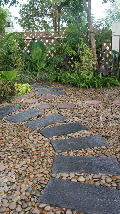 Polished Black Pebbles And Blue Stone Walkway Google 400 x 300