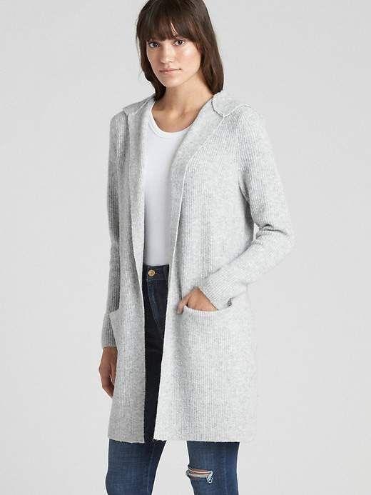 005f42e5fe Gap Women s Textured Open-Front Hooded Cardigan Sweater Light ...