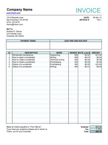 Service invoice for article writers Free Invoice Template Online - contractor invoice form