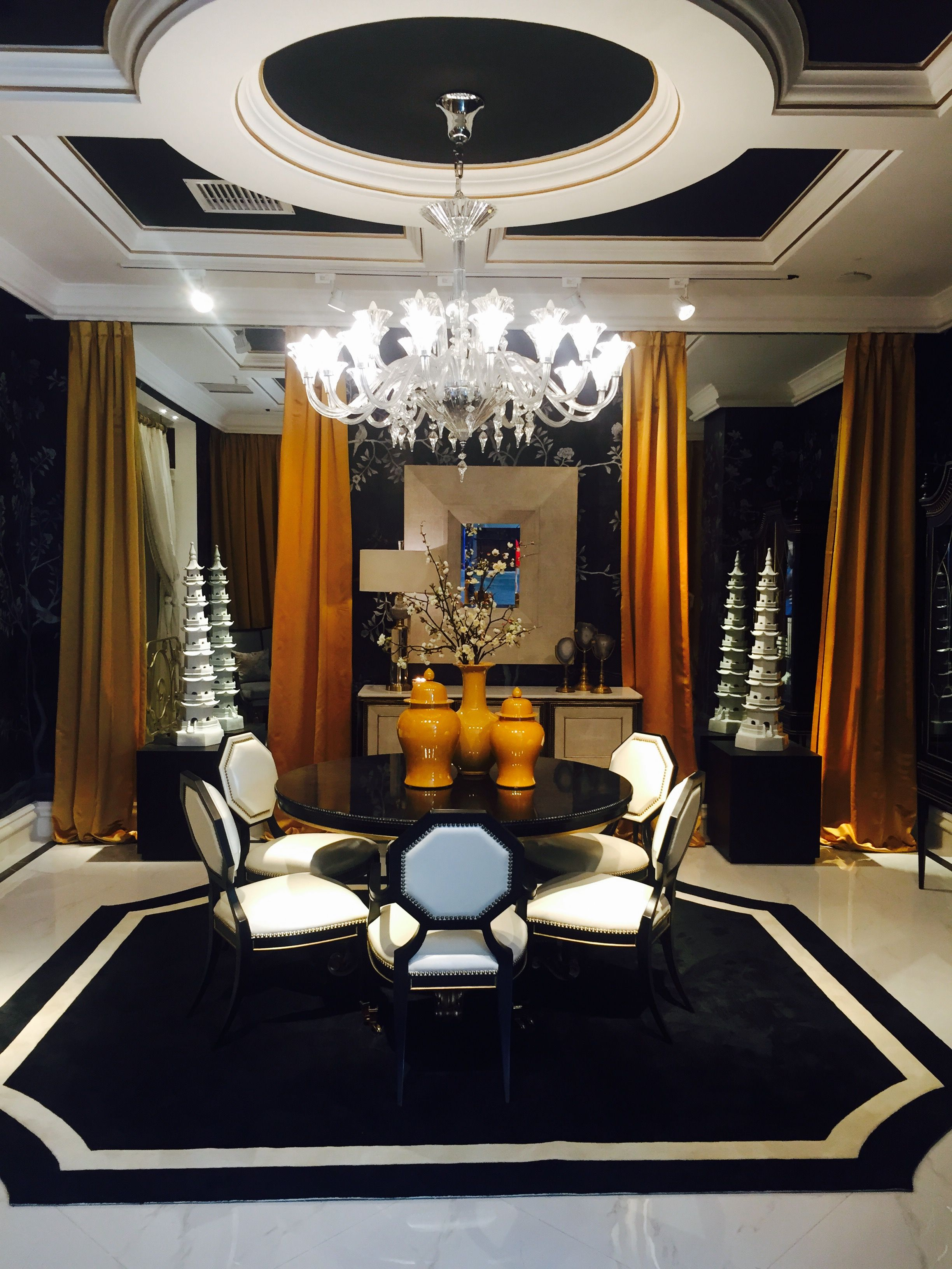 Alissa Sutton Interior Design Black White Gold Dining Room Curtains And Rug Chinoiserie