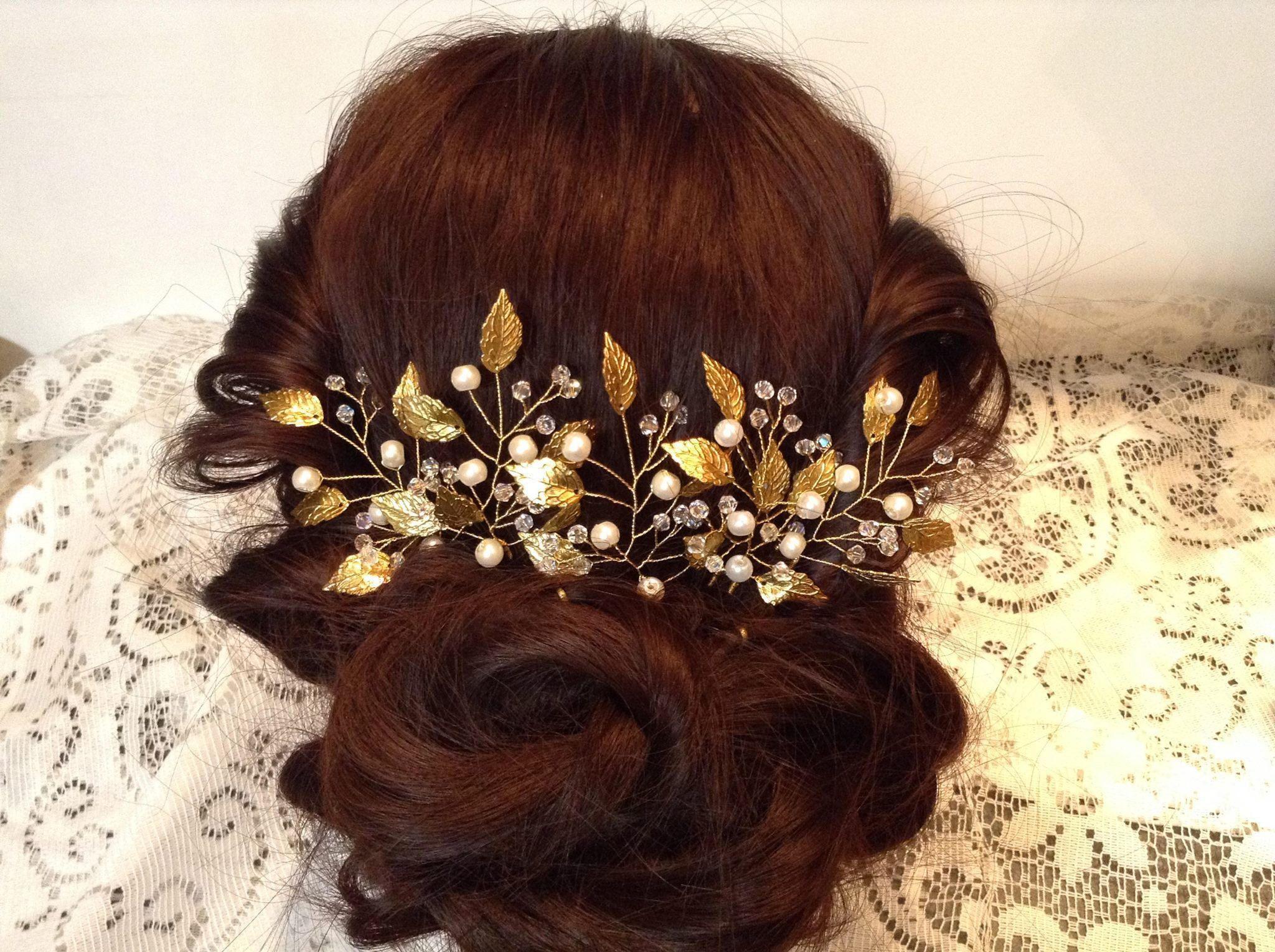 hair pins - wedding hair barrette - golden leaves pearls