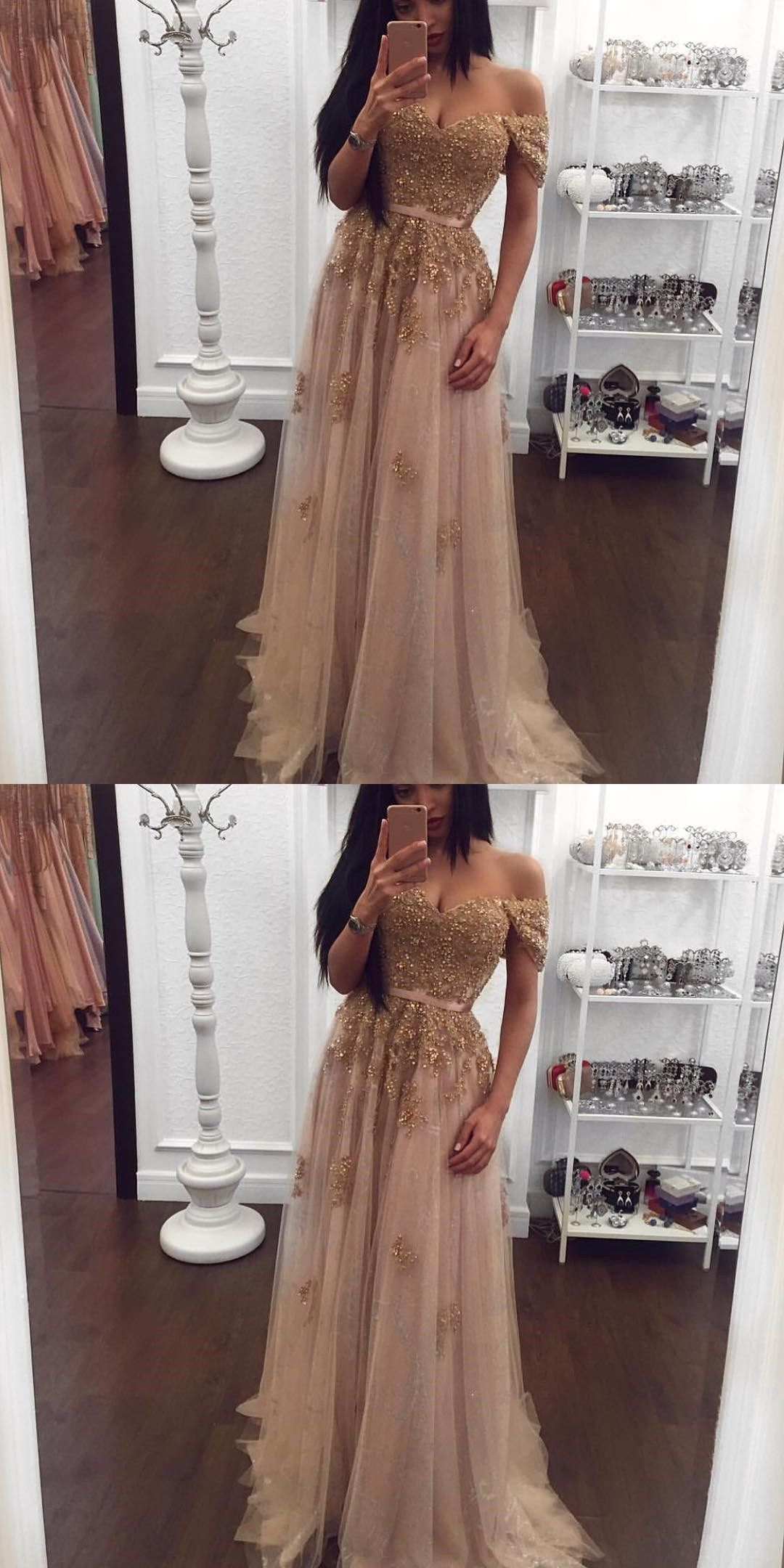 Champagne color prom dresses sexy beading prom gown prom dress with